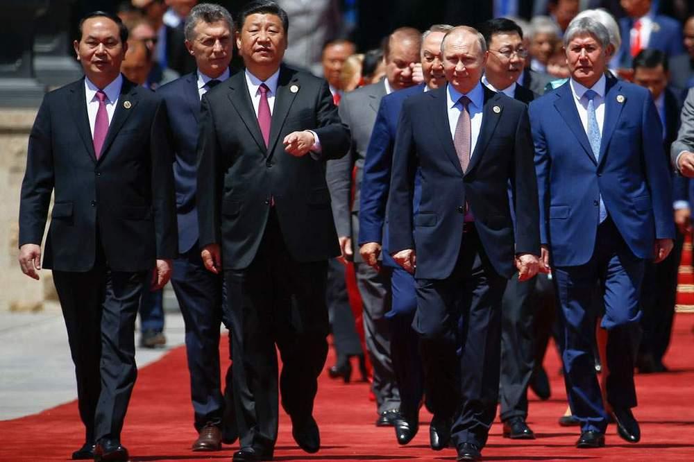 Xi Jinping and Vladimir Putin at the Belt and Road Forum, 2017