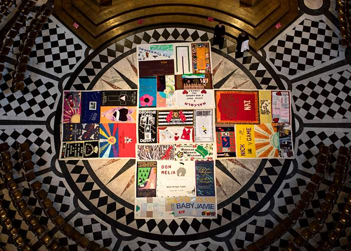 Sections of the UK Aids quilt in St Paul's Cathedral, London(Getty Images)