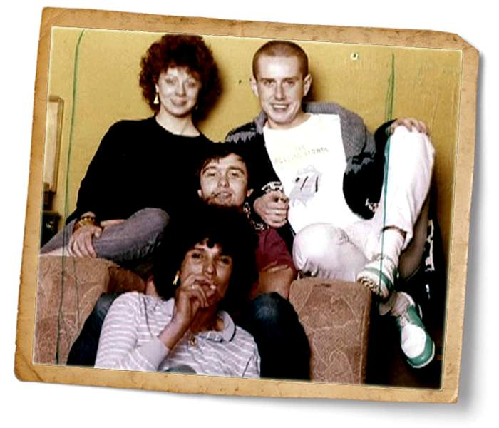 Sandi's old friends - including Holly Johnson (r)