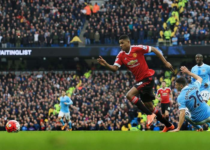 Marcus Rashford scored the only goal in United's win at City on 20 March 2016