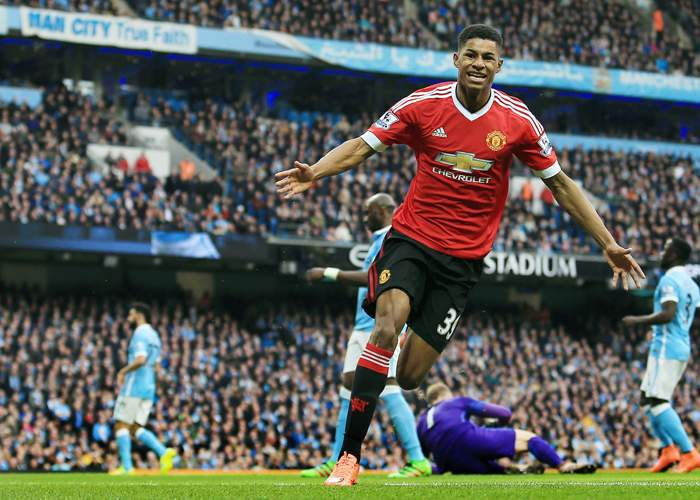At 18 years and 141 days, Rashford became the youngest scorer in a Manchester derby in the Premier League era
