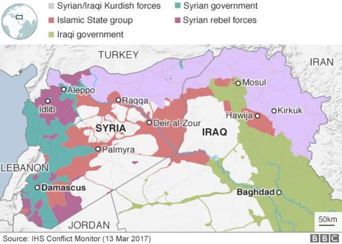 A map of occupied territory around Syria