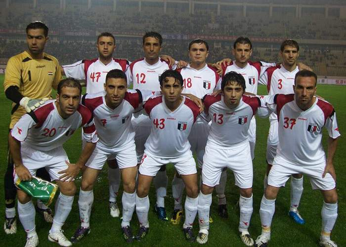 Mohannad Ibrahim (centre, 43) with team-mates