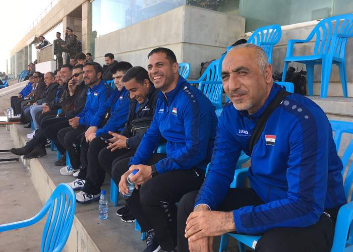 Tarek Jabban (second from right) was a central defender and former captain of the Syria national team